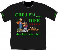 Grillen und Bier Sprücheshirt Partygag T-Shirt Männertag Geburtstag