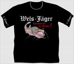 T-Shirt Welsjäger angelshirt angeln angelsport shirt tshirt wels personalisiert