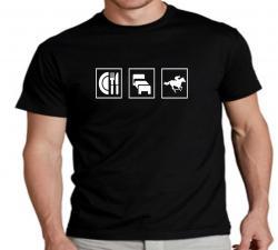 T-Shirt essen schlafen reiten Reitsportverein reitbekleidung bekleidung shirt