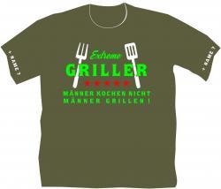 T-shirt Extreme Griller Grillshirt mit Spruch Fleischfresser T-shirt Grillmotive