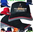 Feuerwehr Motive bedruckte Basecaps Caps Kappen Mützen Wunschname Logo Design